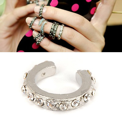 Portable Silver Color Full Of Diamond Opening Design Alloy Korean Rings