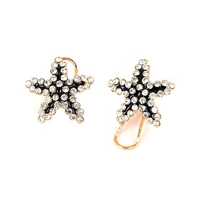 Active Black Five-Pointed Star Shape Design Alloy Stud Earrings