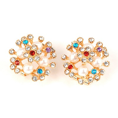 Reversible Multicolor Sparkly Diamond Decorated Design Alloy Stud Earrings
