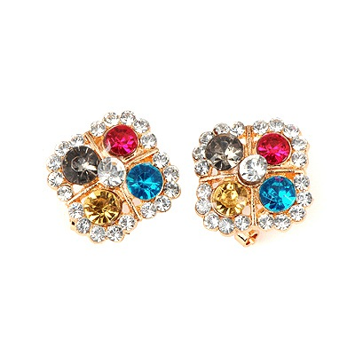Charming Multicolor Gemstone Decorated Square Shape Design Alloy Stud Earrings