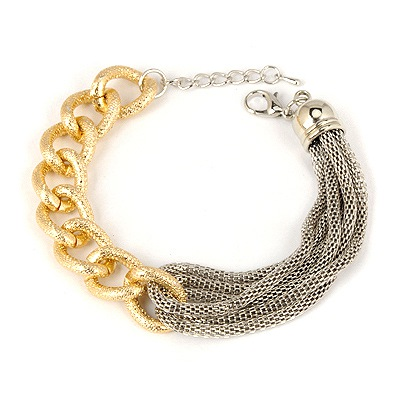 Pagan Gold Color&Antique Silver Chain And Rope Combination Design Alloy Korean Fashion Bracelet
