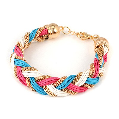 Novelty Multicolor Weave Hemp Flowers Design Alloy Korean Fashion Bracelet