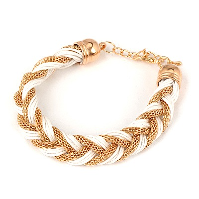 Choker White Double Color Weave Hemp Flowers Design Alloy Korean Fashion Bracelet