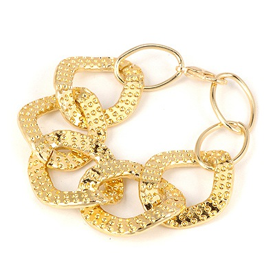 Indian Gold Color Big Metal Chain Link Design Alloy Korean Fashion Bracelet