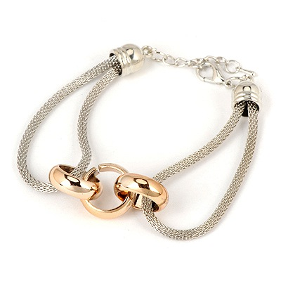 Tapered Rose Gold Three Rings Decorated Design Alloy Korean Fashion Bracelet