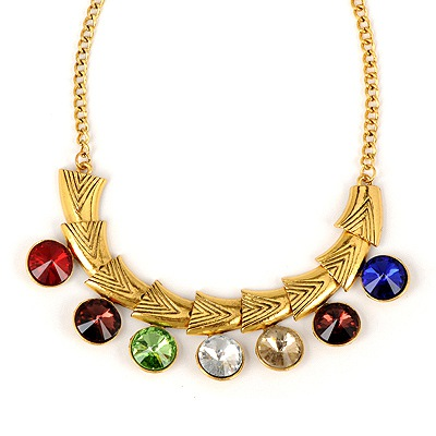 Flirty Antique Copper Colorful Gemstone Decorated Design Alloy Bib Necklaces