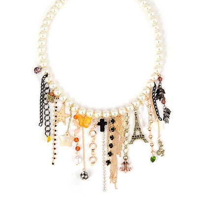 High Waist White Multielement Tassel Pendant Design Alloy Beaded Necklaces