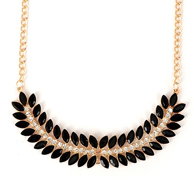 Scottish Black Fishbone Shape Gemstone Decorated Design Alloy Bib Necklaces