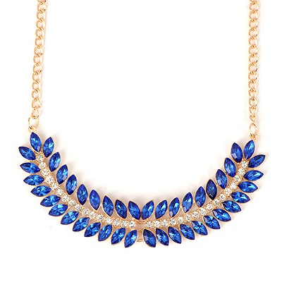 Rugged Blue Fishbone Shape Gemstone Decorated Design Alloy Bib Necklaces