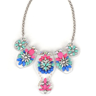 Electronic Plum Red Flower Gemstone Pendant Design Alloy Bib Necklaces