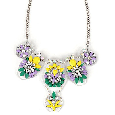 African Yellow Flower Gemstone Pendant Design Alloy Bib Necklaces