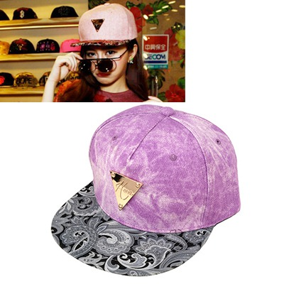 Metallic Purple Hater Flower Pattern Brimmed Design