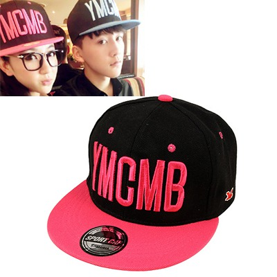 Misses Black&Plum Red Embroidery YMCMB Simple Design Canvas Baseball Caps