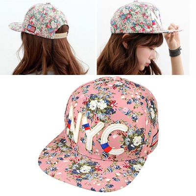 Volcom Pink Floral Pattern Simple Design Canvas Baseball Caps