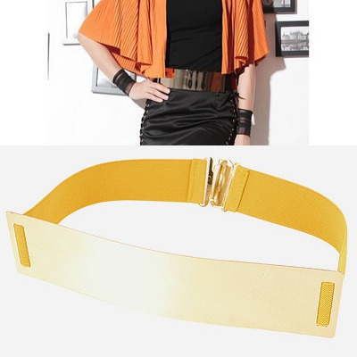 Famale Yellow Mirror Surface Wide Design Alloy Wide belts