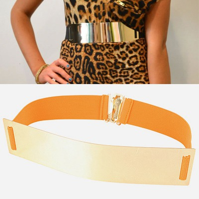 Writing Ginger Mirror Surface Wide Design Alloy Wide belts