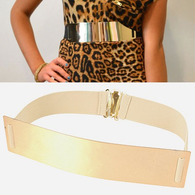 Scrapbooki Beige Mirror Surface Wide Design Alloy Wide belts