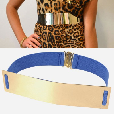 Order Blue Mirror Surface Wide Design Alloy Wide belts