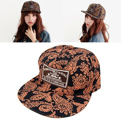 Named Dark Blue&Orange Totem Pattern Flat Brimmed Design Canvas Baseball Caps