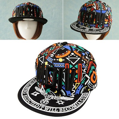 Skinny Black&Blue Embroidery MOIV Graffiti Pattern Design Canvas Baseball Caps