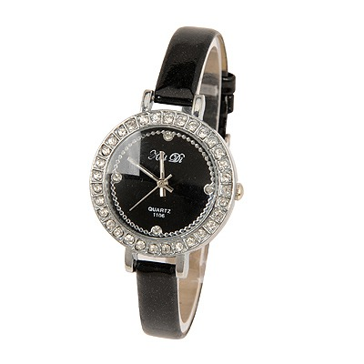 Golf Black Circle Bling Pu Design PU Fashion Watches