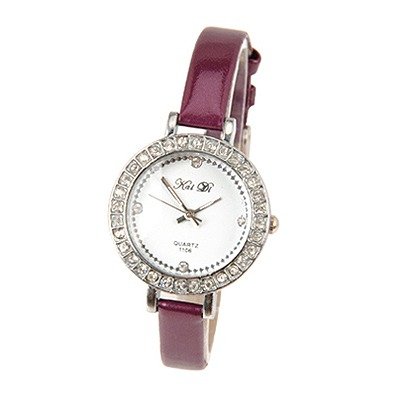 Etcetera Purple Circle Bling Pu Design PU Fashion Watches