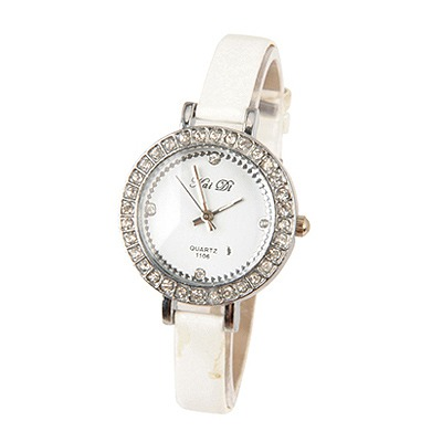 Photograph White Circle Bling Pu Design PU Fashion Watches