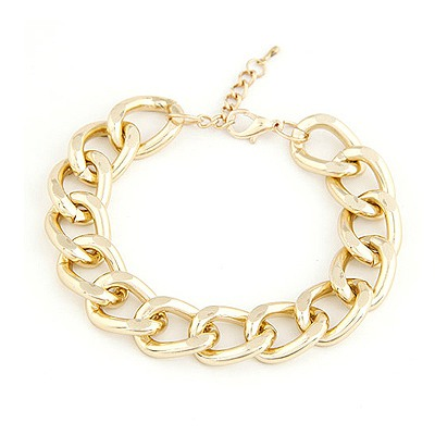 Seamless Gold Color Simple Chain Design Alloy Korean Fashion Bracelet