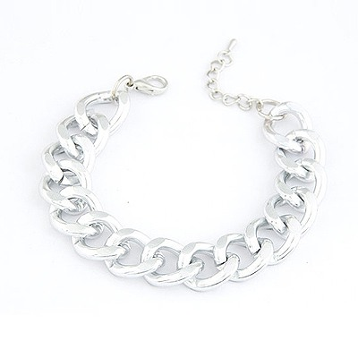 Plain Silver Color Simple Chain Design Alloy Korean Fashion Bracelet