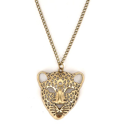 Colorful Antique Copper Hollow Out Leopard Head Pendant Design Alloy Chains