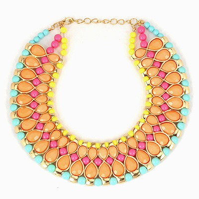 Mechanical Multicolor Water Drop Gemstone And Beads Combination Design Alloy Bib Necklaces