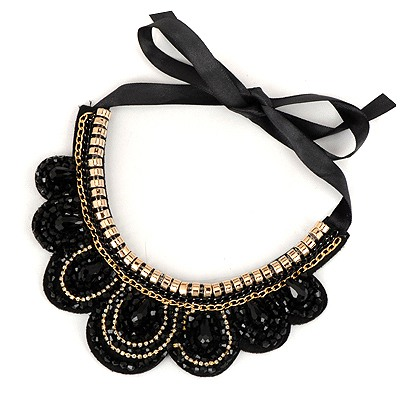 Aluminium Black Sparkling Diamond Decorated Fake Collar Design