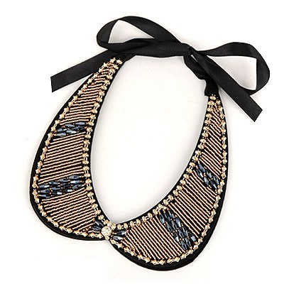 Uniform Dark Blue Measle Fake Collar Simple Design Satin Bib Necklaces