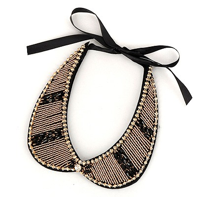 Luxurious Black Measle Fake Collar Simple Design Satin Bib Necklaces