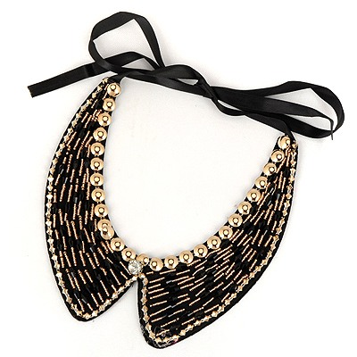 Outlook Black Measle Decorated Fake Collar Design Satin Bib Necklaces
