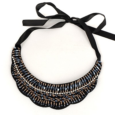 High Dark Blue Wave Shape Lace Fake Collar Design Satin Bib Necklaces