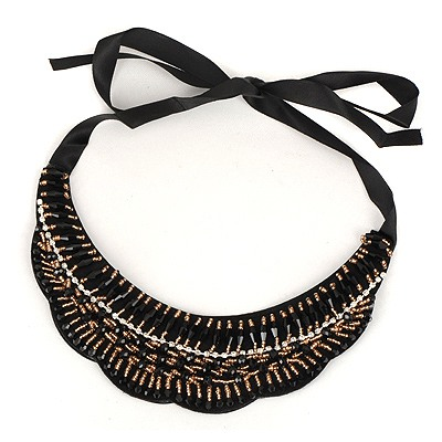 Funny Black Wave Shape Lace Fake Collar Design Satin Bib Necklaces