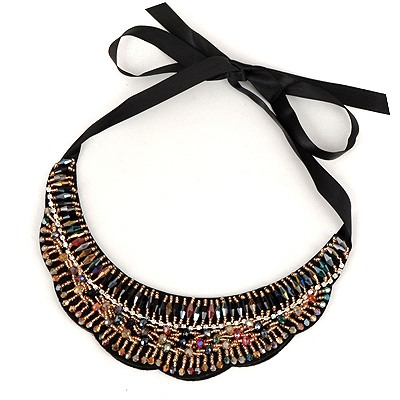 Customized Multicolor Wave Shape Lace Fake Collar Design Satin Bib Necklaces