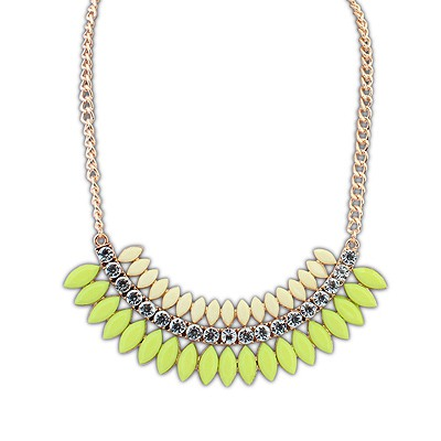 Street Green Crescent Shape Gemstone Decorated Design Alloy Bib Necklaces
