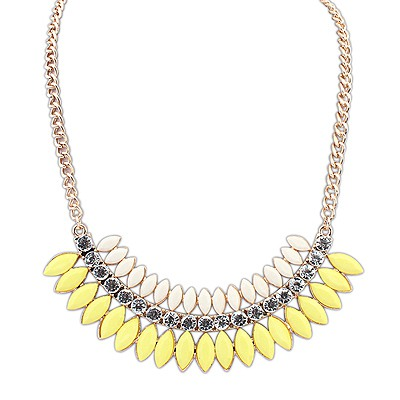 Mechanic Yellow Crescent Shape Gemstone Decorated Design Alloy Bib Necklaces