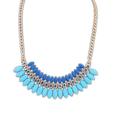 Single Blue Crescent Shape Gemstone Decorated Design Alloy Bib Necklaces