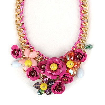 Apparel Plum Red Flower Gemstone Decorated Design Alloy Bib Necklaces