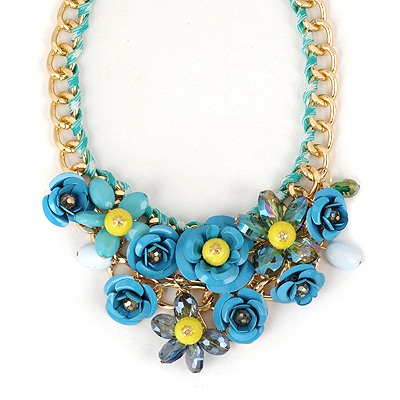 Male Blue Flower Gemstone Decorated Design Alloy Bib Necklaces