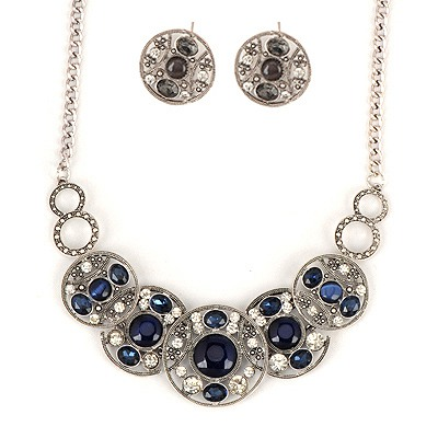 Small Blue Hollow Out Round Shape Gemstone Design Alloy Jewelry Sets