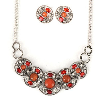 Street Orange Hollow Out Round Shape Gemstone Design Alloy Jewelry Sets