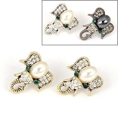Sparrow Color Will Be Random Elephant Pearl Design Alloy Stud Earrings