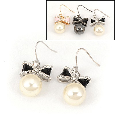 Kinetic Color Will Be Random Bowknot Pearl Design Alloy Fashion earrings