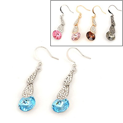 Pleated Color Will Be Random Water Drop Round Design Alloy Fashion earrings