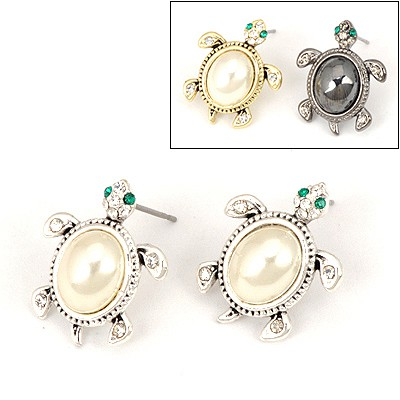 Streamline Color Will Be Random Tortoise Pearl Design Alloy Stud Earrings