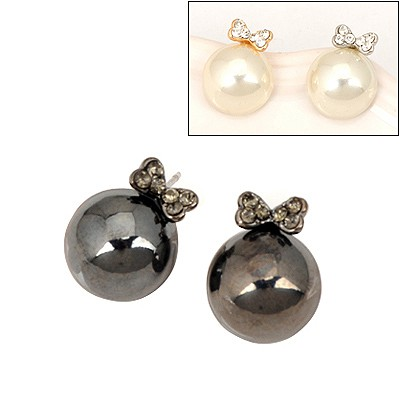 Flip Color Will Be Random Bowknot Pearl Design Alloy Stud Earrings